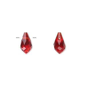 drop, celestial crystal, red, 11x6mm faceted teardrop. sold per pkg of 6.