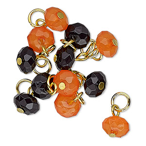 drop, charmed, acrylic and gold-finished steel, orange and black, 8x5mm faceted rondelle. sold per pkg of 12.