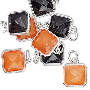 drop, charmed, resin with silver-finished steel and pewter (zinc based alloy), orange and black, 12mm faceted square. sold per pkg of 8.