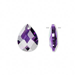 drop, cubic zirconia, amethyst purple, 16x12mm hand-faceted teardrop, mohs hardness 8-1/2. sold per pkg of 2.