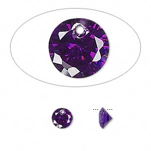 drop, cubic zirconia, amethyst purple, 6mm hand-faceted round, mohs hardness 8-1/2. sold per pkg of 12.