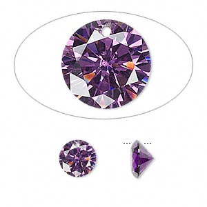 drop, cubic zirconia, amethyst purple, 8mm hand-faceted round, mohs hardness 8-1/2. sold per pkg of 8.