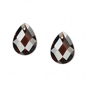 drop, cubic zirconia, brown, 16x12mm hand-faceted teardrop, mohs hardness 8-1/2. sold per pkg of 2.