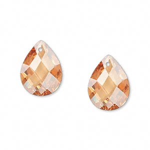 drop, cubic zirconia, champagne, 16x12mm hand-faceted teardrop, mohs hardness 8-1/2. sold per pkg of 2.