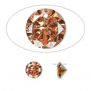drop, cubic zirconia, champagne, 8mm hand-faceted round, mohs hardness 8-1/2. sold per pkg of 4.