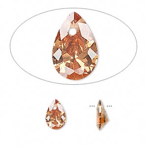 drop, cubic zirconia, champagne, 9x6mm hand-faceted teardrop, mohs hardness 8-1/2. sold per pkg of 4.