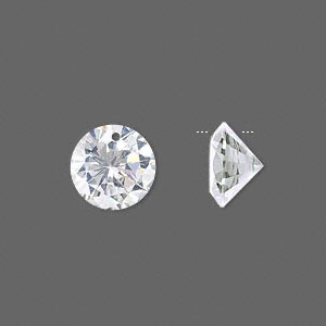 drop, cubic zirconia, clear, 12mm hand-faceted round, mohs hardness 8-1/2. sold per pkg of 4.