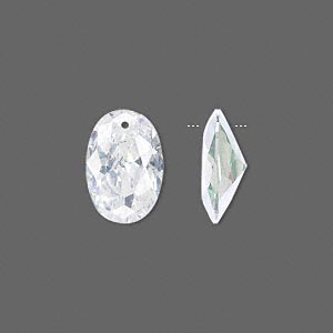 drop, cubic zirconia, clear, 15x10mm hand-faceted oval, mohs hardness 8-1/2. sold per pkg of 2.