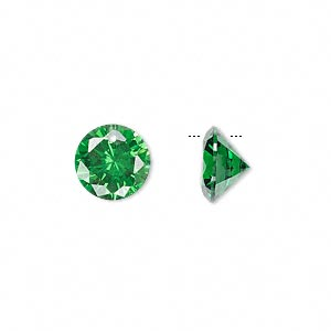 drop, cubic zirconia, emerald green, 10mm hand-faceted round, mohs hardness 8-1/2. sold per pkg of 2.