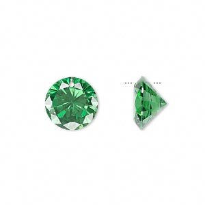 drop, cubic zirconia, emerald green, 12mm hand-faceted round, mohs hardness 8-1/2. sold per pkg of 2.