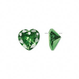 drop, cubic zirconia, emerald green, 12x12mm hand-faceted heart, mohs hardness 8-1/2. sold per pkg of 2.