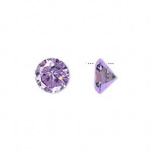 drop, cubic zirconia, lavender, 10mm hand-faceted round, mohs hardness 8-1/2. sold per pkg of 4.