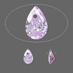 drop, cubic zirconia, lavender, 9x6mm hand-faceted teardrop, mohs hardness 8-1/2. sold per pkg of 6.