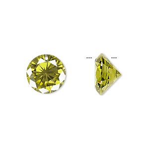 drop, cubic zirconia, olive green, 12mm hand-faceted round, mohs hardness 8-1/2. sold per pkg of 4.