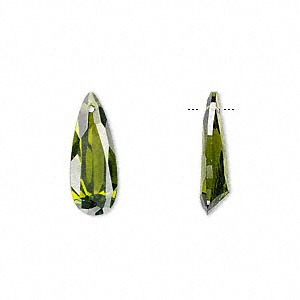 drop, cubic zirconia, olive green, 18x7mm hand-faceted teardrop, mohs hardness 8-1/2. sold per pkg of 2.
