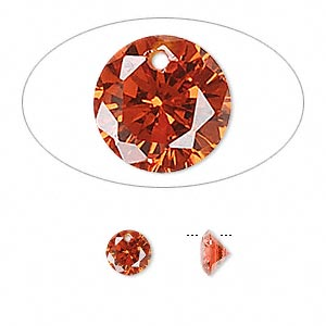 drop, cubic zirconia, orange, 6mm hand-faceted round, mohs hardness 8-1/2. sold per pkg of 12.