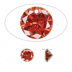 drop, cubic zirconia, orange, 8mm hand-faceted round, mohs hardness 8-1/2. sold per pkg of 8.