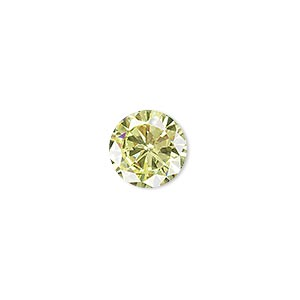drop, cubic zirconia, peridot green, 12mm hand-faceted round, mohs hardness 8-1/2. sold per pkg of 2.