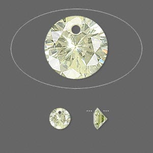 drop, cubic zirconia, peridot green, 6mm hand-faceted round, mohs hardness 8-1/2. sold per pkg of 6.