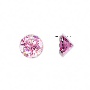 drop, cubic zirconia, pink, 12mm hand-faceted round, mohs hardness 8-1/2. sold per pkg of 4.