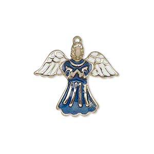 drop, enamel and gold-finished pewter (zinc-based alloy), blue / white / peach, 24x21mm single-sided angel. sold individually.
