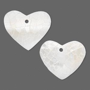 drop, freshwater pearl shell and resin (assembled), white, 23x19mm single-sided heart. sold per pkg of 2.