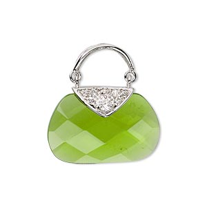 drop, glass / cubic zirconia / rhodium-finished sterling silver, peridot green and clear, 24x12mm purse. sold individually.