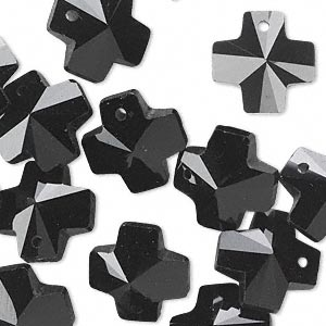 drop, glass, black, 14x14mm faceted cross. sold per pkg of 16.