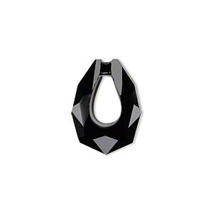 drop, glass, black, 20x14mm double-sided faceted open teardrop. sold per pkg of 2.
