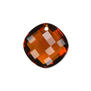 drop, glass, brown, 21mm double-sided faceted modified round. sold per pkg of 2.
