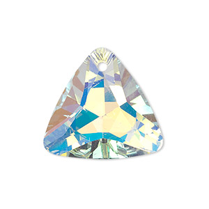 drop, glass, clear ab, 25x25x25mm faceted triangle. sold per pkg of 2.
