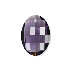 drop, glass, clear purple, 25x18mm hand-cut faceted oval. sold per pkg of 2.