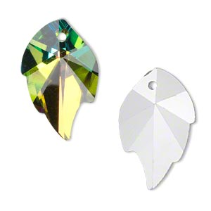 drop, glass, clear vitrail, foil back, 25x16mm hand-cut faceted leaf. sold per pkg of 2.