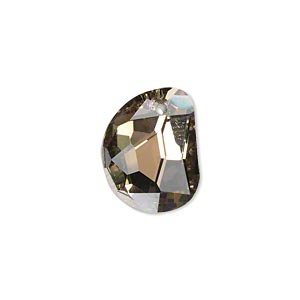 drop, glass, coffee, foil back, 18x14mm faceted 3/4 moon. sold per pkg of 2.