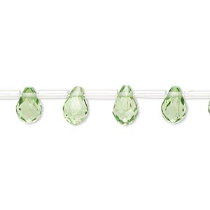 drop, glass, light green, 9x6mm faceted teardrop. sold per pkg of 50 drops.