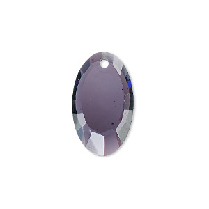 drop, glass, purple, 22x13mm hand-cut faceted oval. sold per pkg of 2.