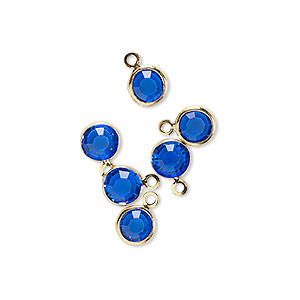 drop, glass rhinestone and gold-finished brass, sapphire blue, 6-6.5mm faceted round. sold per pkg of 6.