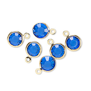 drop, glass rhinestone and gold-finished brass, sapphire blue, 8-9mm faceted round. sold per pkg of 6.