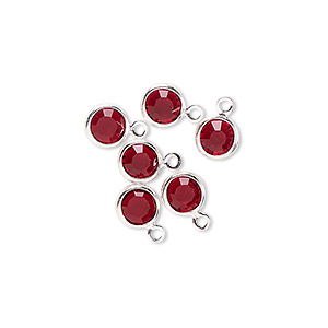 drop, glass rhinestone and silver-finished brass, garnet red, 6-6.5mm faceted round. sold per pkg of 6.