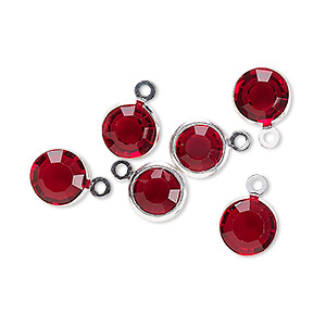drop, glass rhinestone and silver-finished brass, garnet red, 8-9mm faceted round. sold per pkg of 6.