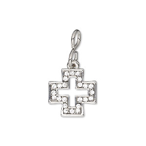 drop, glass rhinestone with imitation rhodium-plated brass and pewter (zinc-based alloy), clear, 14.5mm single-sided open cross. sold individually.