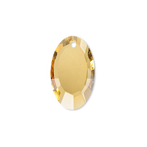 drop, glass, yellow, 22x13mm double-sided faceted oval. sold per pkg of 2.