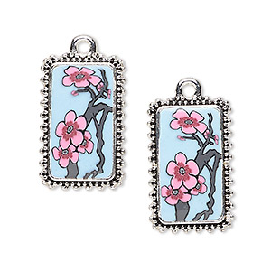 drop, glazed polymer clay and silver-finished pewter (zinc-based alloy), multicolored, 24x15mm single-sided rectangle with plum flower and branch design with beaded edge. sold per pkg of 2.