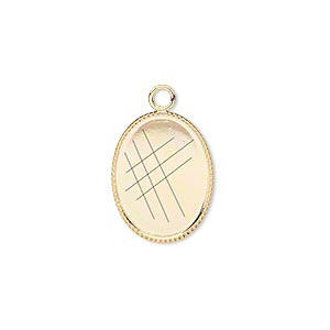 drop, gold-plated brass, 17x13mm oval with beaded edge and 16x12mm oval bezel setting. sold per pkg of 6.