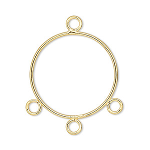 drop, gold-plated steel, 21mm round with 3 loops. sold per pkg of 10.
