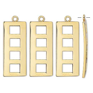 drop, gold-plated steel, 25x11mm fancy rectangle. sold per pkg of 4.