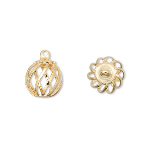 drop, gold-plated steel and brass, 11mm swirled round cage. sold per pkg of 100.