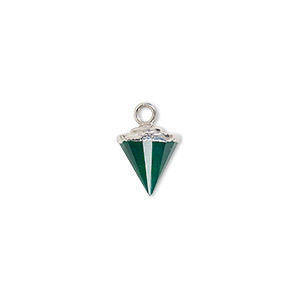 drop, green onyx (dyed) / electroplated silver / silver-plated sterling silver, 9x8mm-11x8mm hand-cut faceted cone. sold individually.