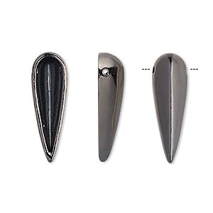 drop, gunmetal-finished pewter (zinc-based alloy), 23x7mm single-sided hollow spike. sold per pkg of 6.