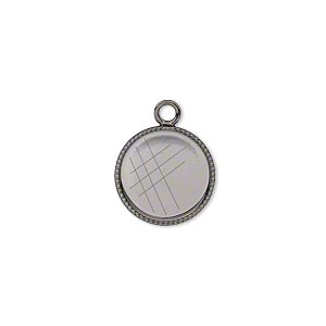 drop, gunmetal-plated brass, 13mm round with beaded edge and 12mm round bezel setting. sold per pkg of 12.